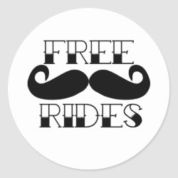 Round Sticker with Free Mustache Rides design