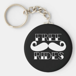 Basic Button Keychain with Free Mustache Rides design