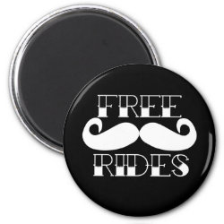Round Magnet with Free Mustache Rides design