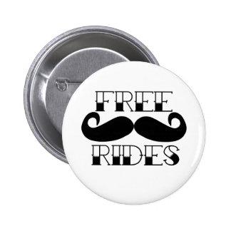 Free Mustache Rides Pinback Button