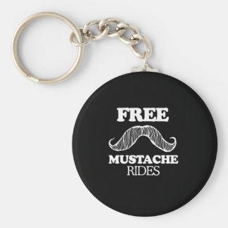 FREE MUSTACHE RIDES T-shirt Keychain