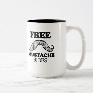 FREE MUSTACHE RIDES T-shirt Two-Tone Coffee Mug