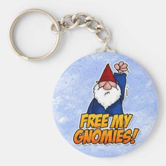 free my gnomies basic round button keychain