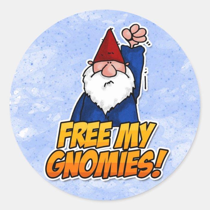 free my gnomies classic round sticker