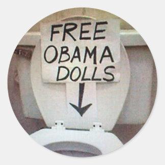 FREE OBAMA DOLLS CLASSIC ROUND STICKER