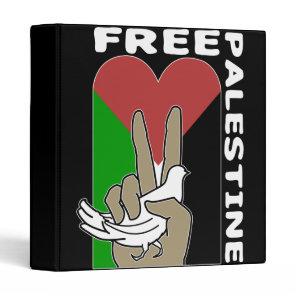 Free Palestine Dove Heart Peace Sign Binder