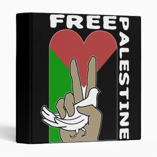 Free Palestine Dove Heart Peace Sign Binder