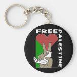 Free Palestine Dove Heart Peace Sign Black Keychain