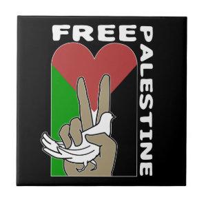 Free Palestine Dove Heart Peace Sign Black Tile