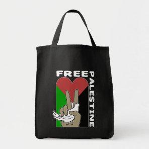 Free Palestine Dove Heart Peace Sign Black Tote Bag