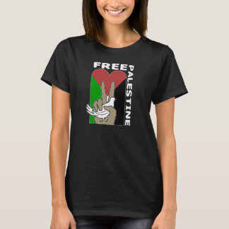 Free Palestine Dove Heart Peace Sign dark tshirt