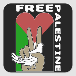 Free Palestine Dove Heart Peace Sign Square Sticker