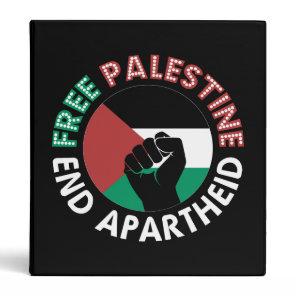 Free Palestine End Apartheid Flag Fist Black Binder