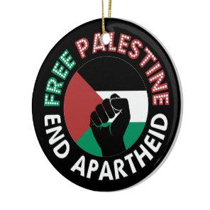 Free Palestine End Apartheid Flag Fist Black Ceramic Ornament