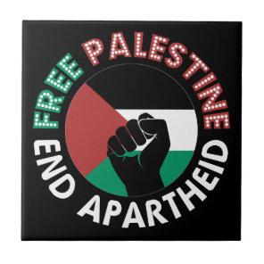 Free Palestine End Apartheid Flag Fist Black Ceramic Tile
