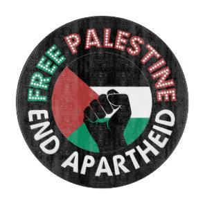 Free Palestine End Apartheid Flag Fist Black Cutting Board
