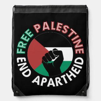 Free Palestine End Apartheid Flag Fist Black Drawstring Backpack