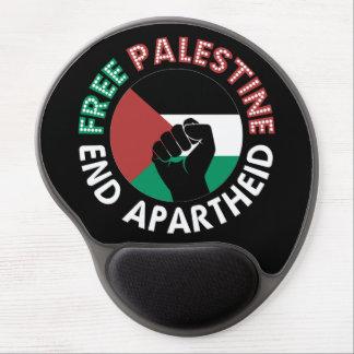 Free Palestine End Apartheid Flag Fist Black Gel Mouse Pad