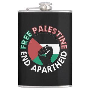 Free Palestine End Apartheid Flag Fist Black Hip Flask