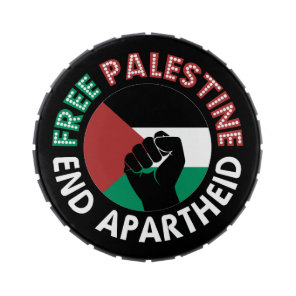 Free Palestine End Apartheid Flag Fist Black Jelly Belly Tin
