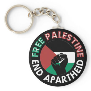 Free Palestine End Apartheid Flag Fist Black Keychain