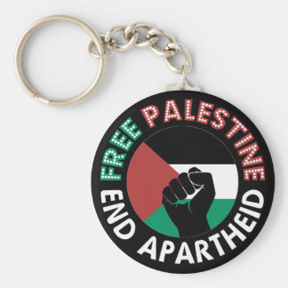 Free Palestine End Apartheid Flag Fist Black Keychain