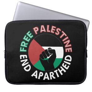 Free Palestine End Apartheid Flag Fist Black Laptop Sleeve