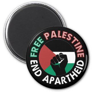 Free Palestine End Apartheid Flag Fist Black Fridge Magnets