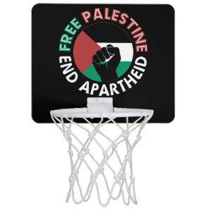 Free Palestine End Apartheid Flag Fist Black Mini Basketball Hoop