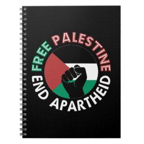 Free Palestine End Apartheid Flag Fist Black Notebook