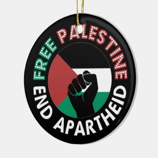 Free Palestine End Apartheid Flag Fist Black Christmas Ornaments