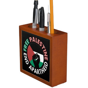 Free Palestine End Apartheid Flag Fist Black Pencil/Pen Holder