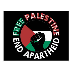 Free Palestine End Apartheid Flag Fist Black Postcard