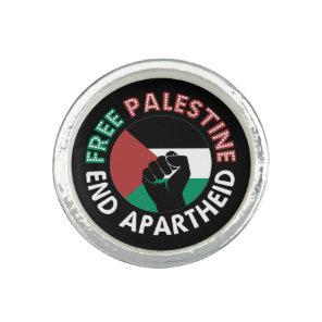 Free Palestine End Apartheid Flag Fist Black Rings