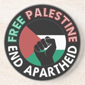 Free Palestine End Apartheid Flag Fist Black Sandstone Coaster
