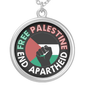 Free Palestine End Apartheid Flag Fist Black Silver Plated Necklace