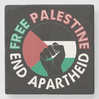 Free Palestine End Apartheid Flag Fist Black Stone Coaster