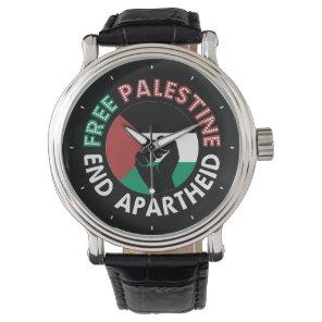 Free Palestine End Apartheid Flag Fist Black Watch
