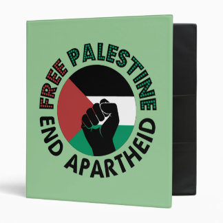 Free Palestine End Apartheid Palestine Flag 3 Ring Binders