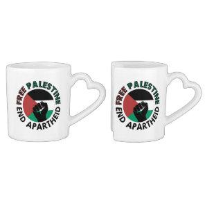 Free Palestine End Apartheid Palestine Flag Coffee Mug Set
