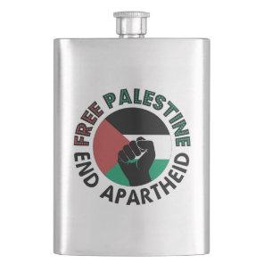 Free Palestine End Apartheid Palestine Flag Flask