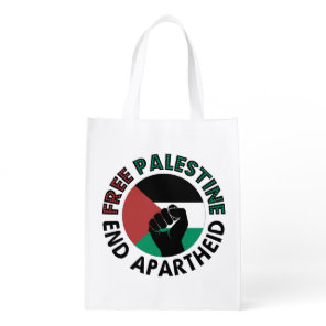 Free Palestine End Apartheid Palestine Flag Grocery Bag