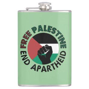 Free Palestine End Apartheid Palestine Flag Hip Flask