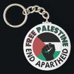 """Free Palestine End Apartheid Palestine Flag Keychain<br><div class=""""desc"""">Free Palestine End Apartheid white background   revolutionary fist  Palestinian Flag of palestine  Green Black White Red Palestine flag   End Apartheid Israel   Join the movement to save Palestinians from Israeli war of aggression   Boycott Israel Stop buying Israeli goods  Middle East conflict</div>"""