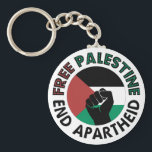 "Free Palestine End Apartheid Palestine Flag Keychain<br><div class=""desc"">Free Palestine End Apartheid white background   revolutionary fist  Palestinian Flag of palestine  Green Black White Red Palestine flag   End Apartheid Israel   Join the movement to save Palestinians from Israeli war of aggression   Boycott Israel Stop buying Israeli goods  Middle East conflict</div>"