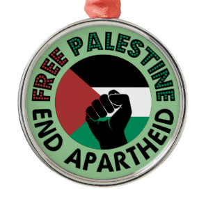 Free Palestine End Apartheid Palestine Flag Metal Ornament