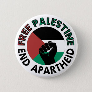 Free Palestine End Apartheid Palestine Flag Pinback Button