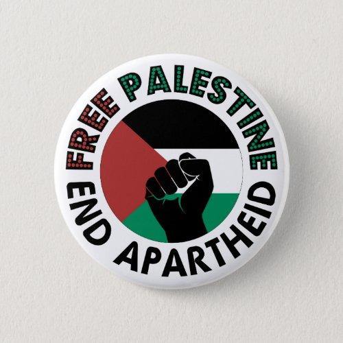 Free Palestine End Apartheid Palestine Flag Pinback Button