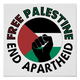 Free Palestine End Apartheid Palestine Flag Print