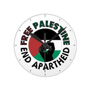 Free Palestine End Apartheid Palestine Flag Round Clock
